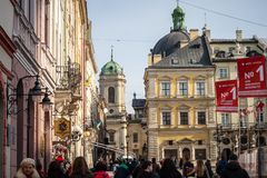 Lviv unique architecture Royalty Free Stock Photo