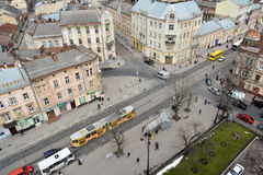Lviv. View of Lviv from the belfry of the Church of Saint Elisabeth Royalty Free Stock Images