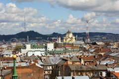 Lviv. View of Lviv from the belfry of the Church of Saint Elisabeth Stock Photography