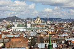 Lviv. View of Lviv from the belfry of the Church of Saint Elisabeth Royalty Free Stock Photo