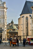 Lviv. View from the Market Square in Lviv, Boim Chapel Royalty Free Stock Image