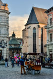 Lviv. View from the Market Square in Lviv, Boim Chapel Royalty Free Stock Images