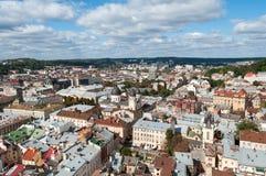 Lviv Vista de uma torre alta imagens de stock royalty free