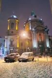 Lviv w zimy świątyni Fotografia Stock