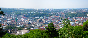 Lvivpanorama, de Oekraïne Stock Afbeelding