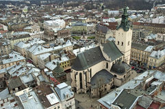 Lvov市全景从高度的 免版税库存照片