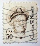 Lvov,乌克兰, 05 05 2017年 邮票,彻斯特W nimitz 免版税库存图片