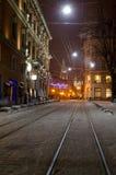 Красивейший городской пейзаж зимы в центре старого города Lvov на Стоковая Фотография RF