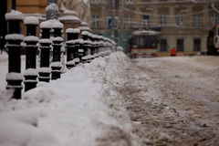 Lvov city in winter Royalty Free Stock Image