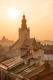 Lvov skyline at sunset Royalty Free Stock Photography