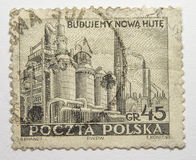 Lvov, Ucrania, 07 05 2017 Acería Nowa Huta Polonia 1951 de la industria del sello Fotografía de archivo libre de regalías