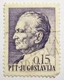 Lvov, Ucrania, 07 05 2017 Josip Broz Tito en un sello del vintage, Jugoslavija Imágenes de archivo libres de regalías