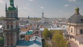 Lvov, Ukraina Powietrzny miasto Lviv, Ukraina panoramy stary miasteczko _ zdjęcie royalty free