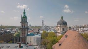 Lvov, Ukraina Powietrzny miasto Lviv, Ukraina panoramy stary miasteczko _ fotografia stock