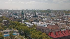 Lvov, Ukraine. Aerial City Lviv, Ukraine. Panorama of the old town. Dominican stock photo
