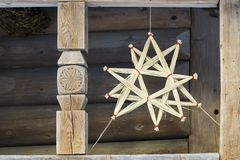LVOV, UKRAINE- JANUARY 20 2018: Straw Christmas star. Christmas. LVOV UKRAINE- JANUARY 20 2018: Straw Christmas star. Christmas decorations royalty free stock photos