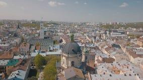 Lvov, Ukraine Luftstadt Lemberg, Ukraine Panorama der alten Stadt dominikanisch stockfotos