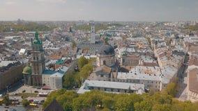 Lvov, Ukraine Luftstadt Lemberg, Ukraine Panorama der alten Stadt dominikanisch lizenzfreie stockfotografie