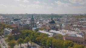 Lvov, Ukraine Luftstadt Lemberg, Ukraine Panorama der alten Stadt dominikanisch lizenzfreie stockfotos
