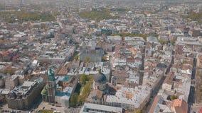 Lvov, Ukraine Luftstadt Lemberg, Ukraine Panorama der alten Stadt dominikanisch stockbild