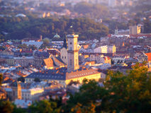 Lvov, Ukraine. Tilt shift effect Royalty Free Stock Image