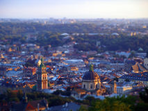 Lvov, Ukraine. Tilt shift effect Stock Photos