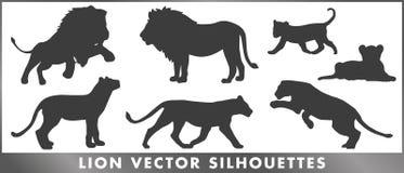 Lwów rodzinni wektorowi silouettes ustawiający royalty ilustracja