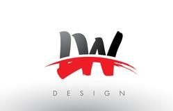 LW L brosse Logo Letters de W avec l'avant de brosse de bruissement de rouge et de noir Image stock