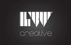 LW L lettre Logo Design With White de W et lignes noires Image libre de droits