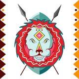 lwa afrykańskiego Afryka zwierzę w koloru wzoru wektoru ilustraci Obrazy Stock