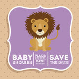 Lwa dziecka prysznic karty zwierzęca ikona royalty ilustracja