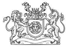 Lwa i jednorożec osłony Heraldyczny żakiet ręki ilustracja wektor
