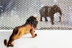 Lwa i słonia model Obrazy Stock