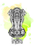Lwa kapitał Ashoka w indianin flaga kolorze emblematów ind Obraz Stock