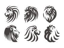 Lwa kierowniczy logo - wektorowa ilustracja, emblemata projekt Zdjęcie Royalty Free