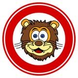 Lwa kierowniczy ono uśmiecha się w sygnalizacyjnym panelu ilustracji