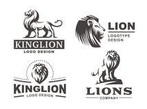 Lwa logo ustawia - wektorową ilustrację, emblemata projekt Zdjęcia Royalty Free