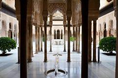 Lwa patio w Alhambra, Granada, Hiszpania ilustracja wektor