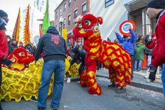 Lwa taniec w Chinatown Boston, Massachusetts, usa zdjęcia stock