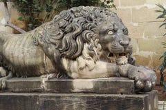Lwa zabytek w prezydencie Pałac, Malta zdjęcie royalty free