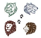 Löwe- und Tigerköpfe Stockbild