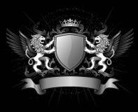 Löwen und Schild auf Kamm Stockbild