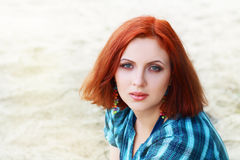 Lwoman with red hair Royalty Free Stock Images