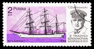 Lwow, T. Ziolkowski, Training ships serie, circa 1980. MOSCOW, RUSSIA - OCTOBER 6, 2018: A stamp printed in Poland shows Lwow, T. Ziolkowski, Training ships royalty free stock photos