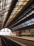 Lwow Train station. Platform of Main Railway Terminal in Lviv, Ukraine Stock Photo