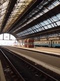 Lwow Train station. Platform of Main Railway Terminal in Lviv, Ukraine Stock Image