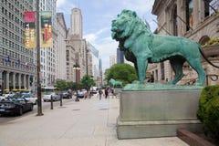 Lwy przed sztuka instytutem, Chicago Zdjęcia Royalty Free