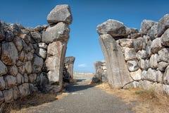 Lwy Zakazują przy Hattusa kapitał Hittite imperium w opóźnionym Brązowym wieku obraz royalty free