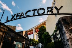 LX Factory or LXF - public platform of creative design and art in Lisbon. Urbanistic project for the modern art and. Lisbon, Portugal - June 5, 2019: LX Factory royalty free stock image