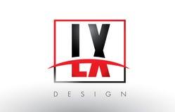 LX L X Logo Letters avec des couleurs et le bruissement rouges et noirs Photographie stock